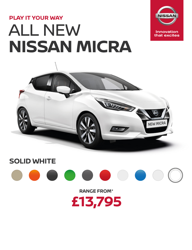 All New Nissan Micra Header Banner Solid White