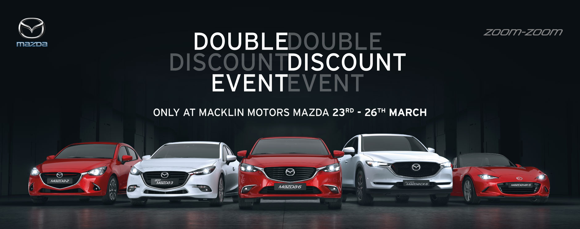 Mazda double discount event banner