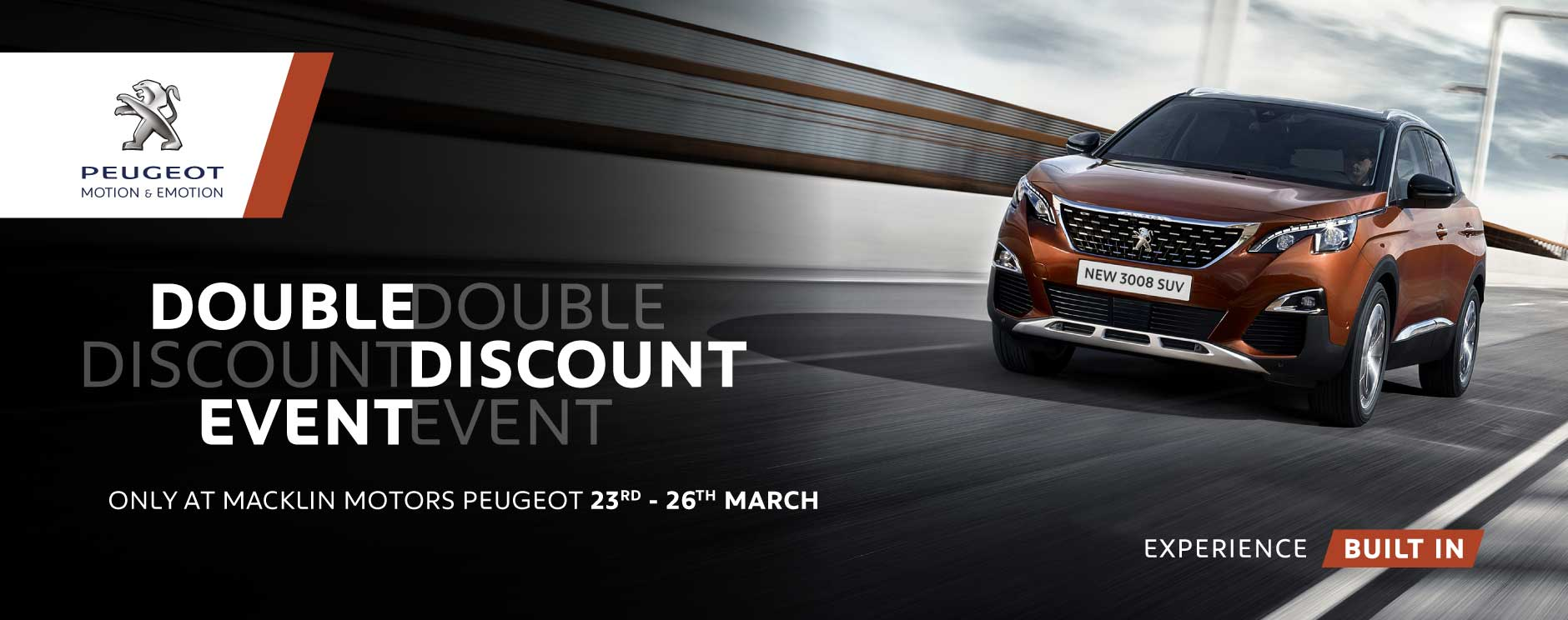 Peugeot double discount event banner